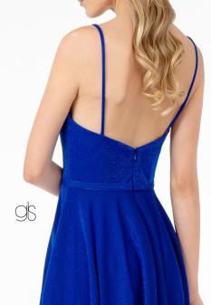 Sweetheart Neckline A-Line Short Dress w/ Pocket in Royal Blue
