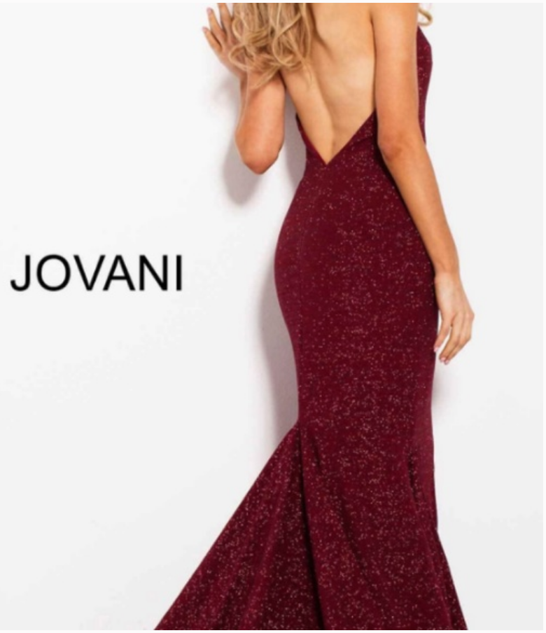 Jovani Multi-Glitter Plunging Neckline