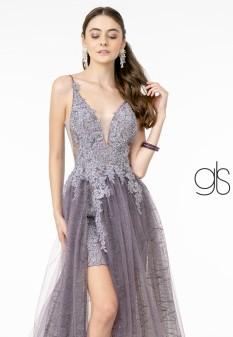 Illusion V-Neck Glitter Mesh Long Gown w/ V-Back