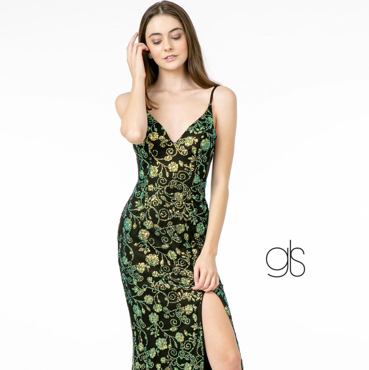 Sequin and Glitter Pattern Sparkled V-Neck Long Dress w/ Leg Slit