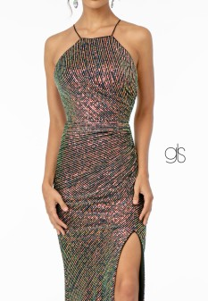 Sequin Fitted Dress w/ Lace Up Back and Leg Slit