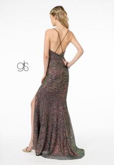 Full Sequin Ruched V-Neck Long Dress w/ Strap Back