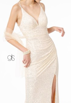 Illusion Deep V-Neck Ruched Sequin Bodycon Dress w/ Slit