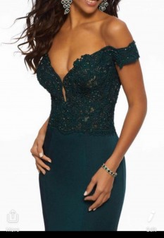 Green off the shoulder dress by Mori Lee