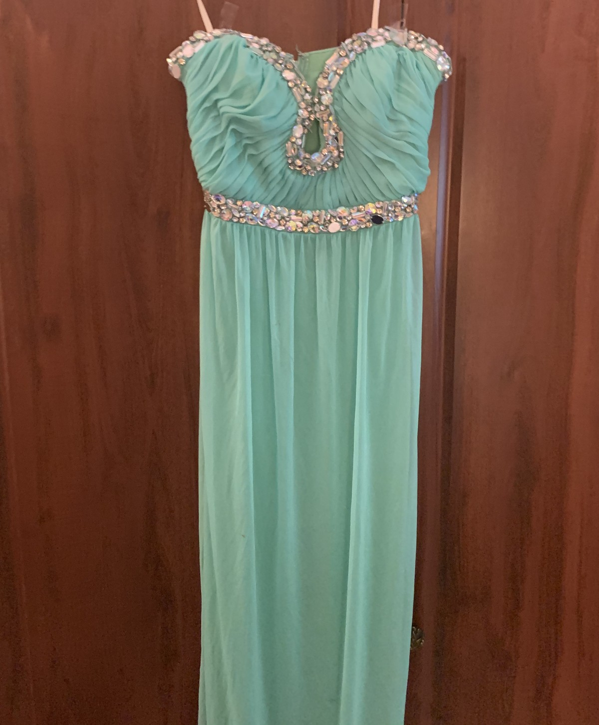 Turquoise evening gown