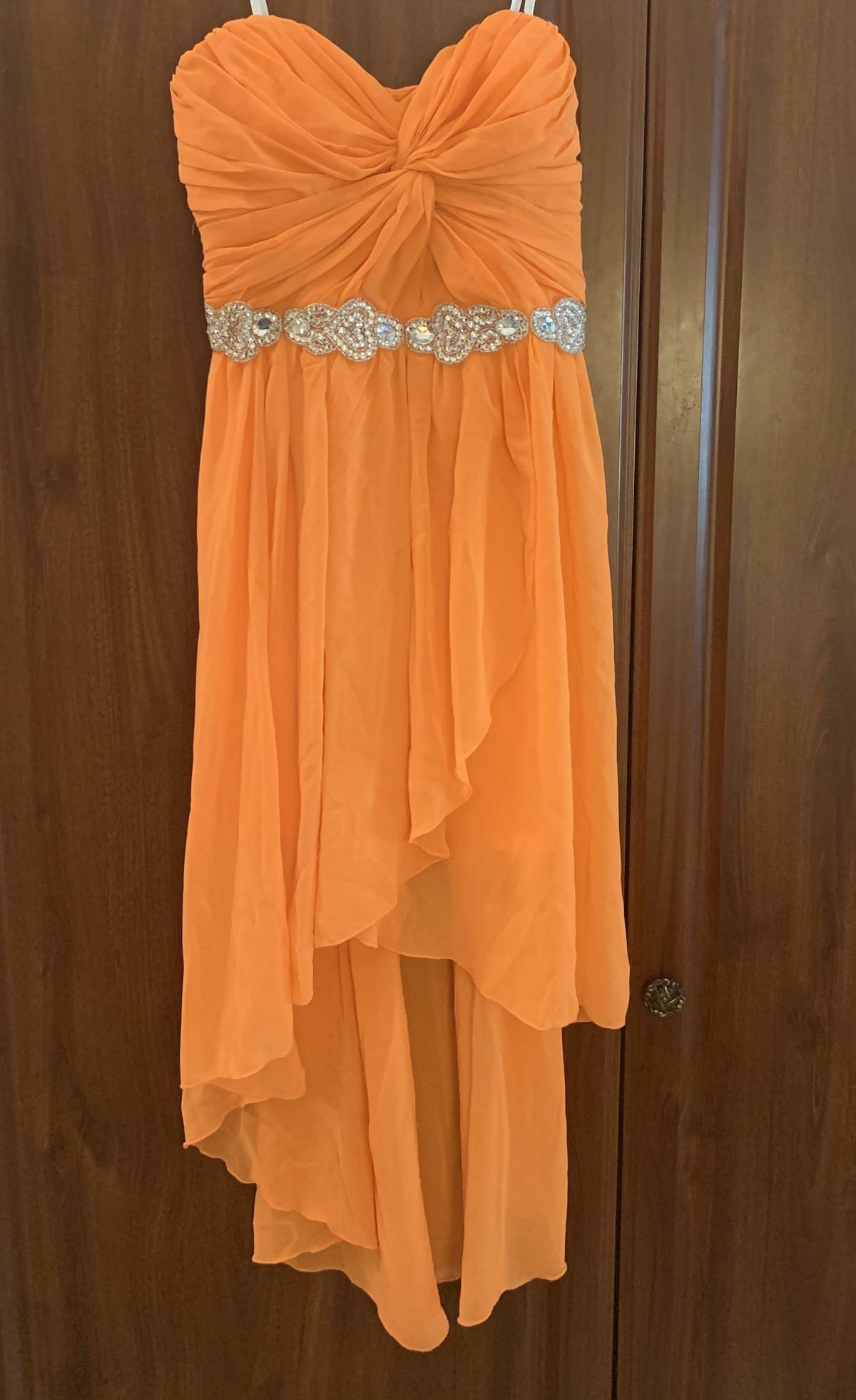 Orange sequined dress