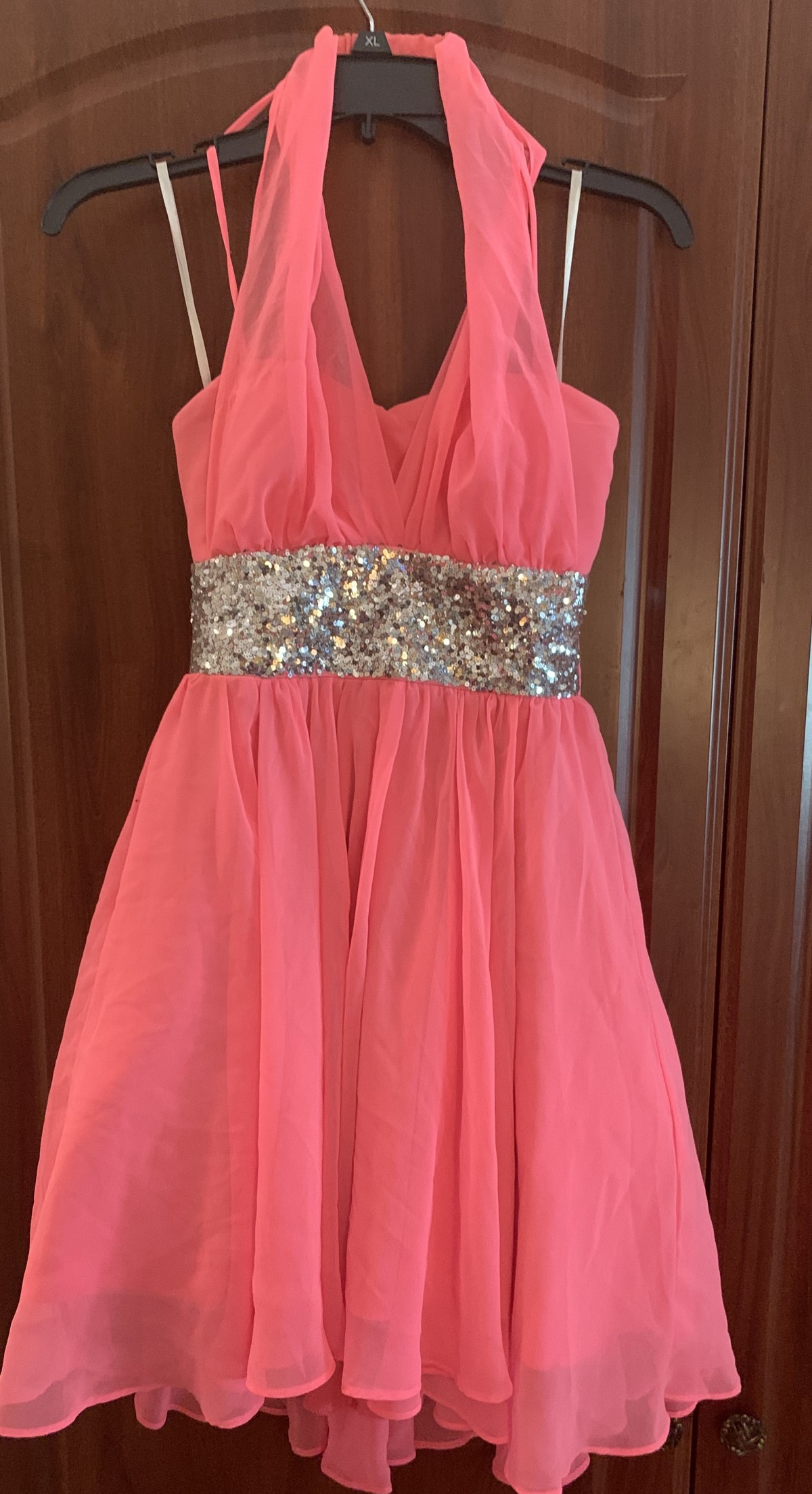 Hot Pink sequined dress designed by DEB