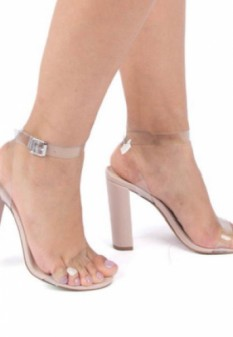 Clear Ankle Strap Nude Heels
