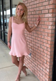 French Connection Blush Dress with Ruffle Hem