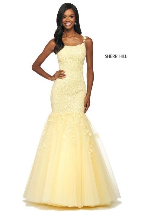 Yellow mermaid gown by Sherri Hill