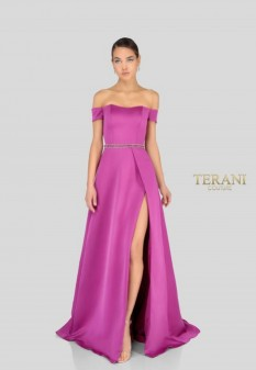 Fuschia off the shoulder gown by Terani Couture style 1911E9263
