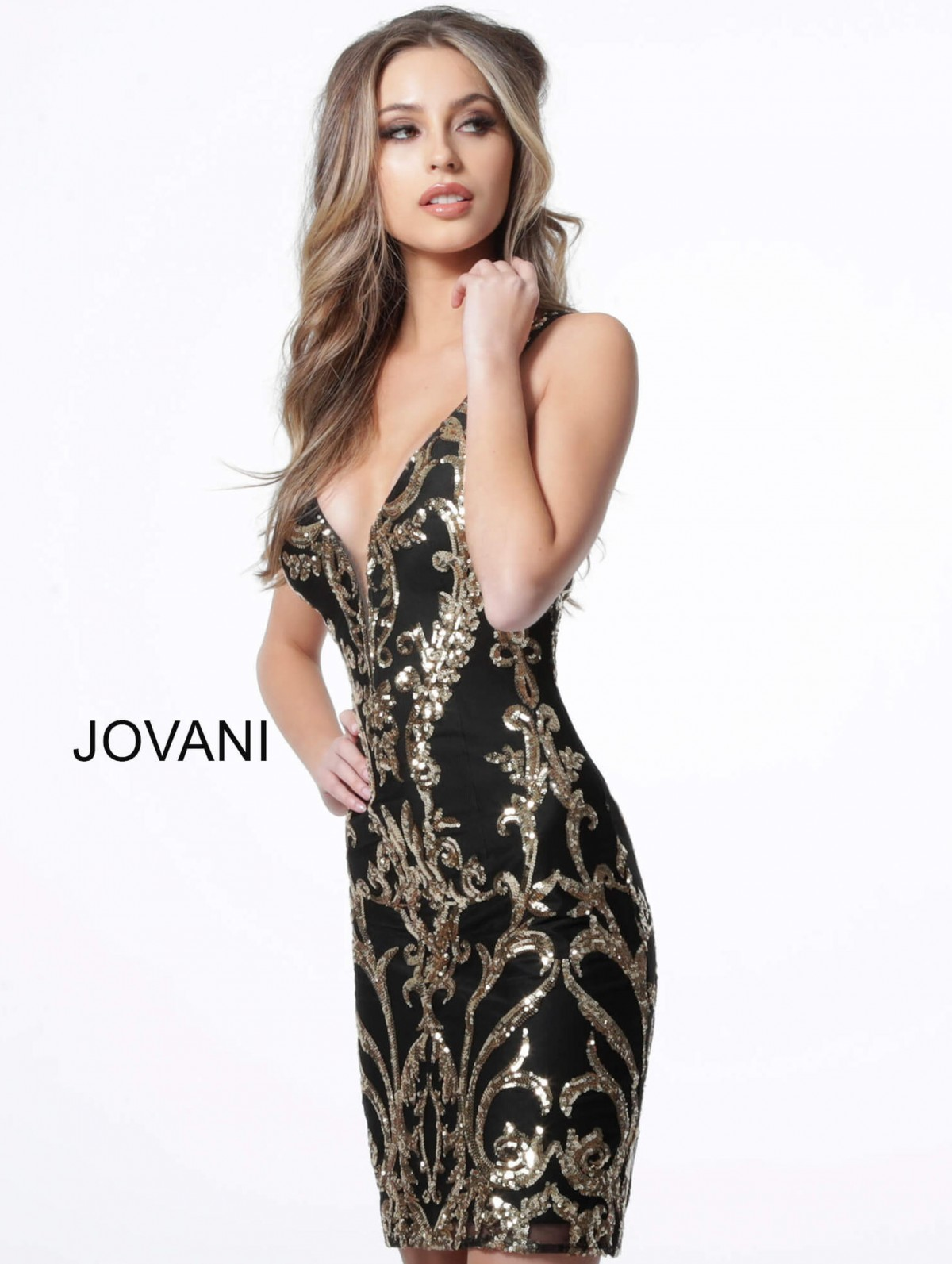 Black and Gold short cocktail dress by Jovani-Style 2667A