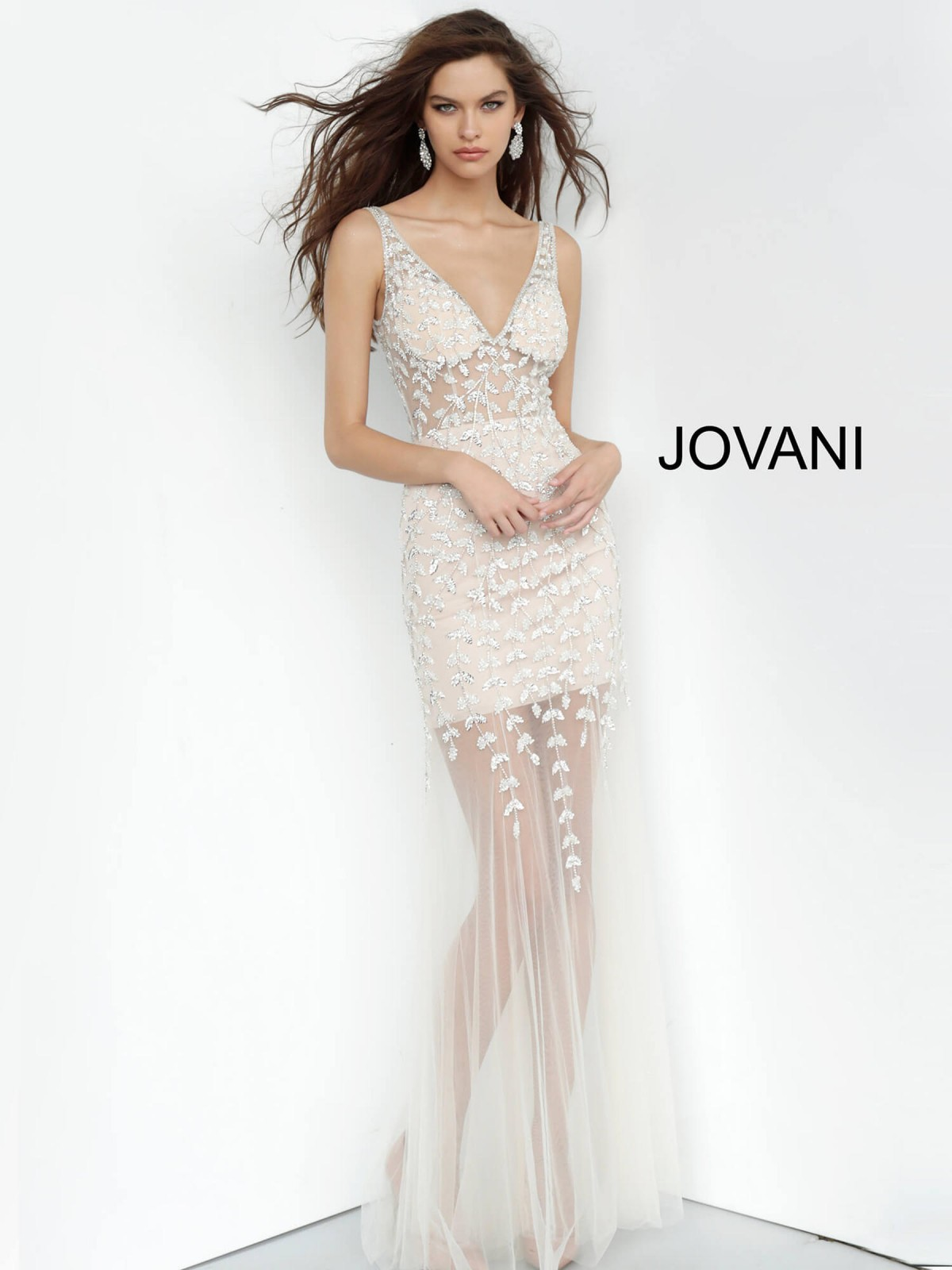 White nude Jovani pageant gown style 3959