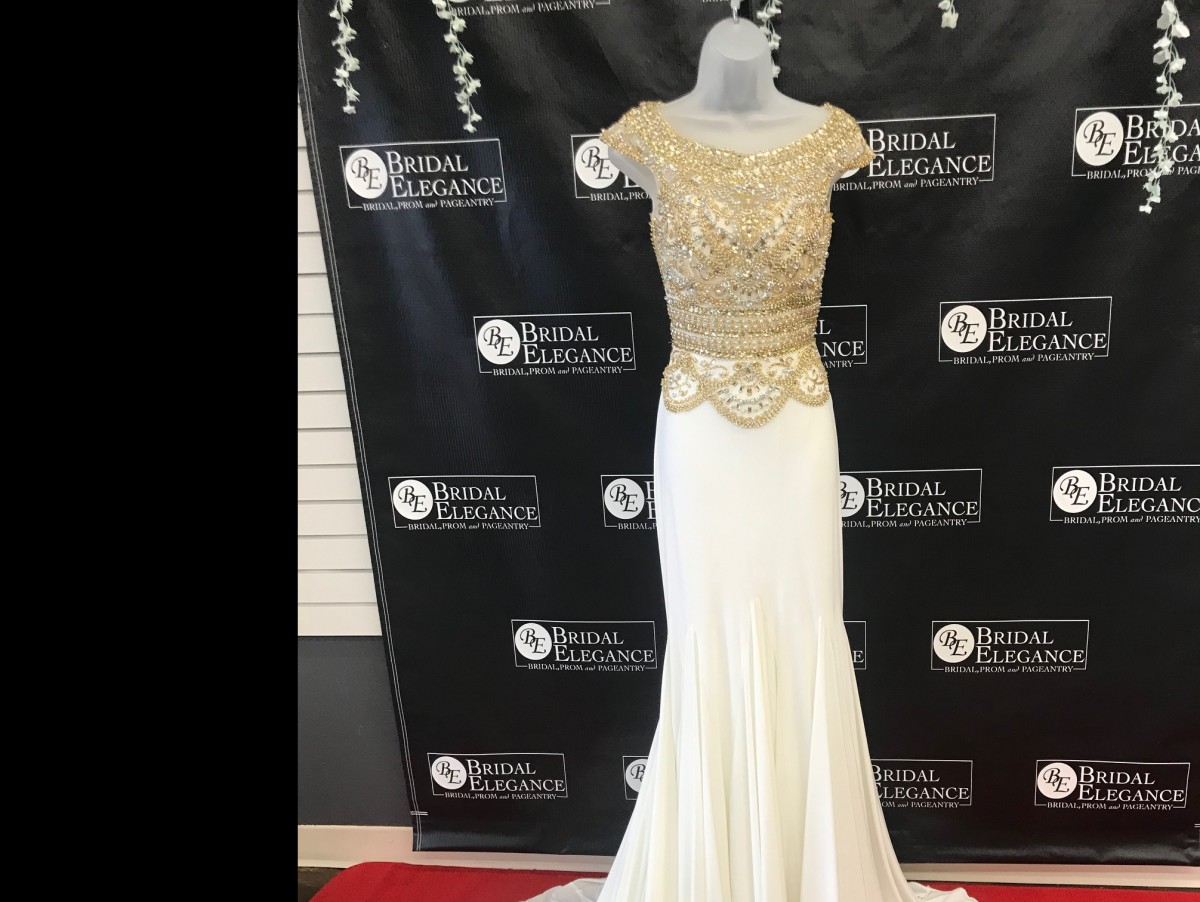 PAGEANT GOWN WITH BEADED/SEQUINED BODICE WITH JERSEY BOTTOM W/SLIT