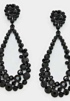 Long Crystal Hoops | Comes in Many Colors