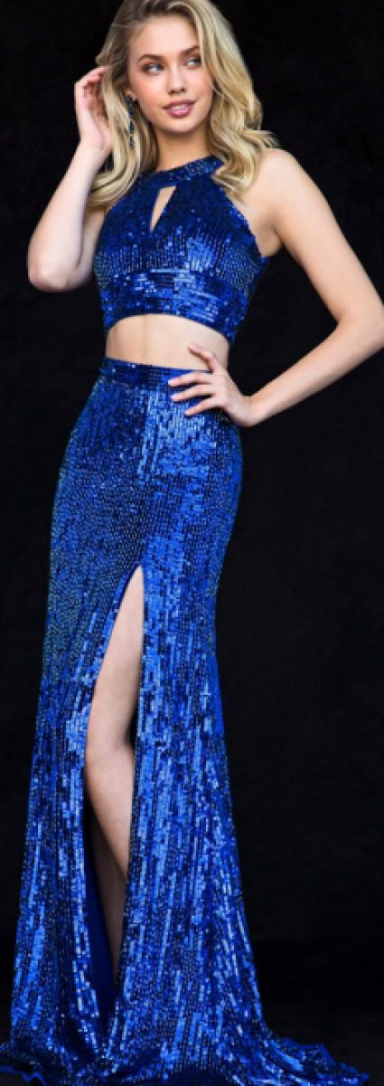 Sherri Hill sequin stretch gown 2 piece 51756