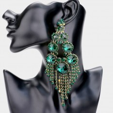 LARGE CRYSTAL CHANDELIER STATEMENT EARRINGS