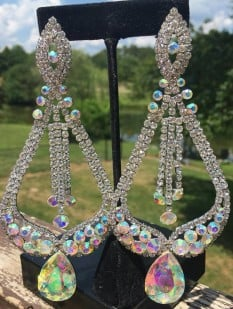 "CRYSTAL PAGEANT STATEMENT EARRINGS | ""MISS AMERICA"""