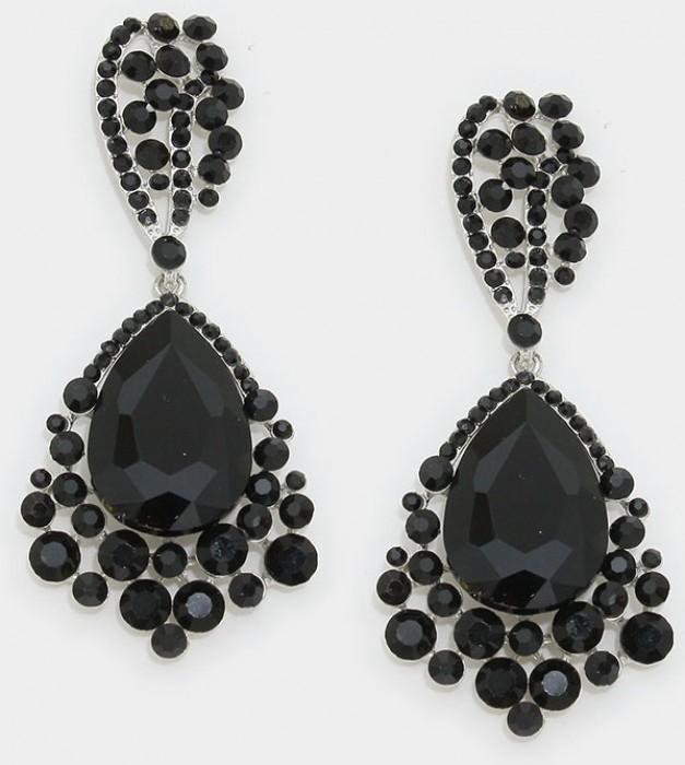 Crystal Drop Pageant Earrings