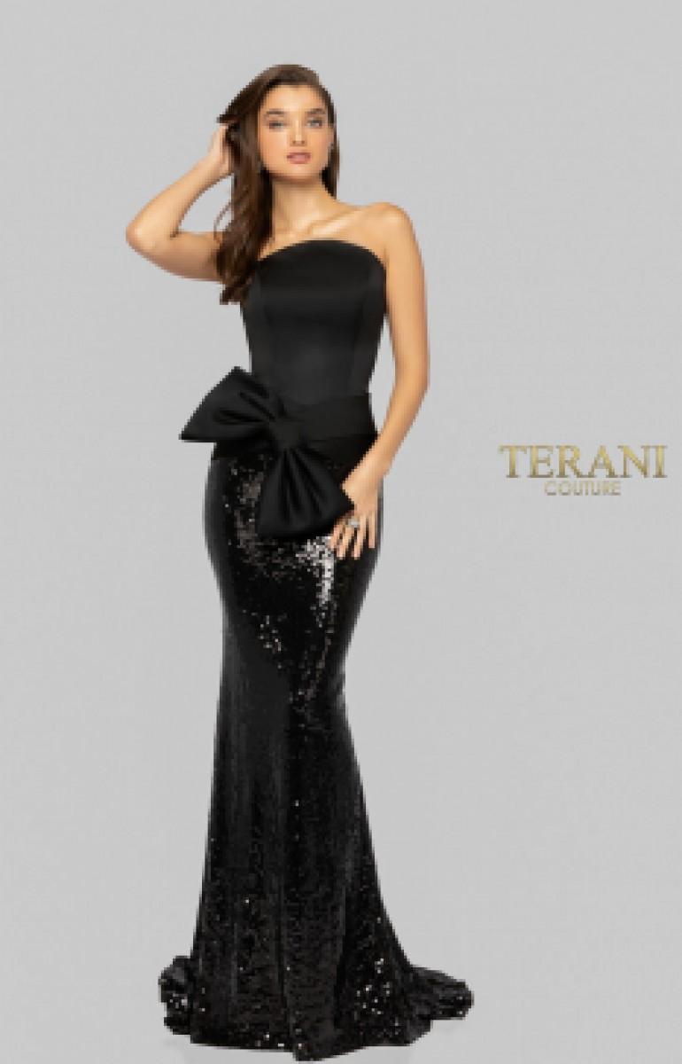 Terani black sequin gown 1912E9146