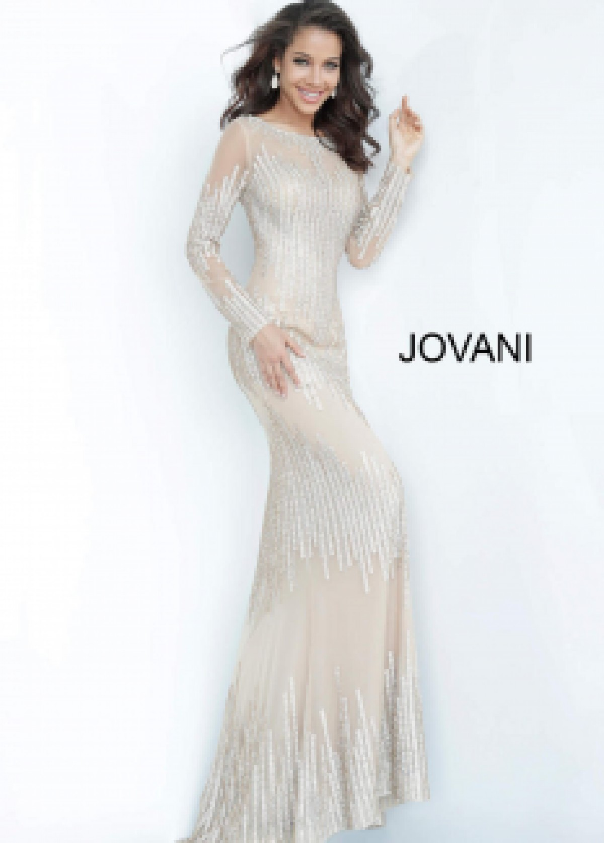 Jovani nude embellished gown 3601