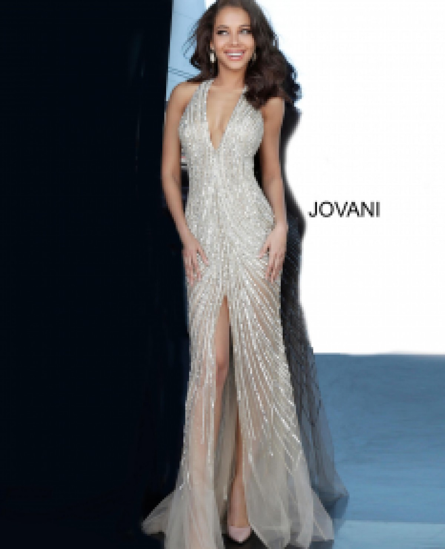 Nude Beaded Sexy Jovani Dress 2609
