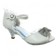 Kids White Ruffle High Heel Shoes