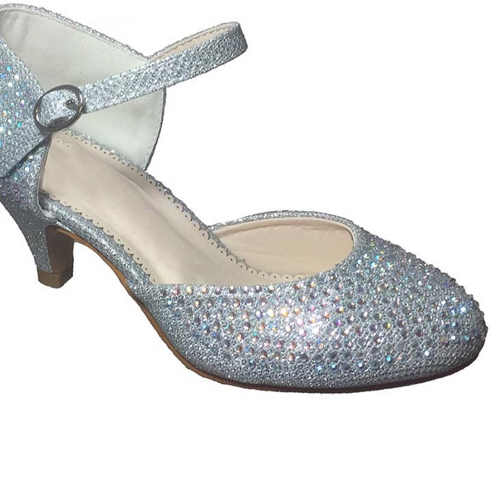Kids Closed Toe Silver High Heels