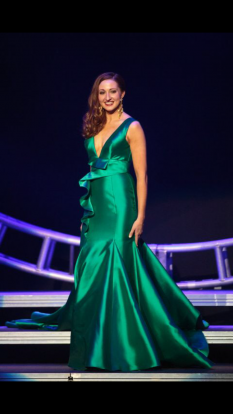 Custom Mac Duggal Green Evening Gown