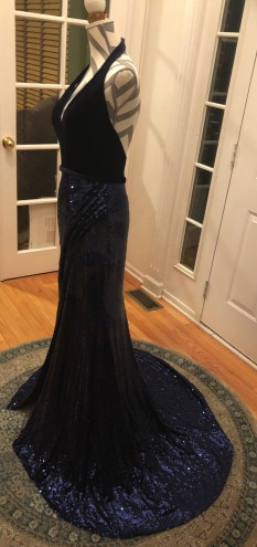 Navy Blue Terani Couture Halter Gown