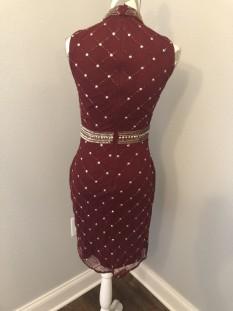 Burgundy Kim Karan Beaded Cocktail Dress