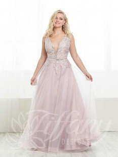 Plus Size 20w Sky Blue Tulle Pageant Gown by Tiffany Designs