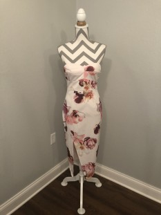 White Floral Cocktail Dress with Slit