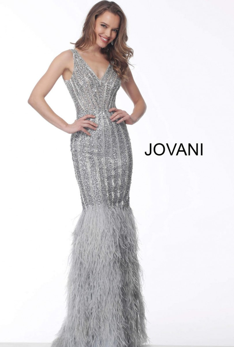 Jovani Silver Feather Bottom Fitted Evening Dress 66233