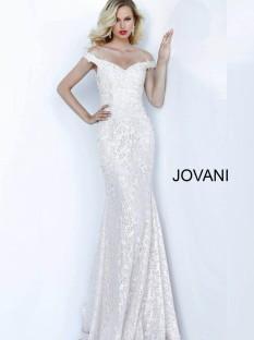 Jovani Light Blush Off the Shoulder Sweetheart Neck Evening Dress 66663