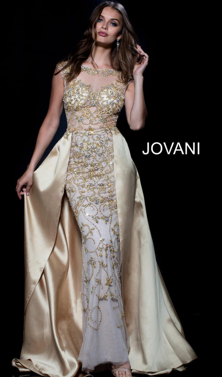 Jovani Gold Nude Beaded Sheer Bodice Evening Gown 49260