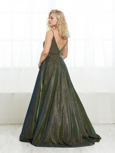 Shimmer pink plus sized aline gown by Tiffany