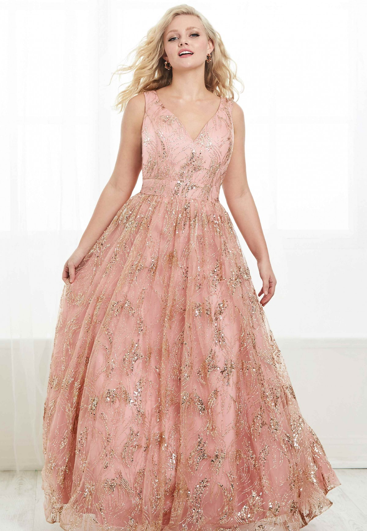 Pink and Gold Aline Plus Size Gown by Tiffany