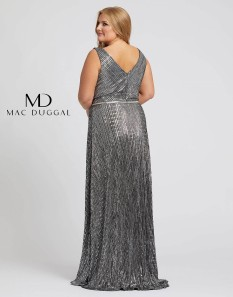 Black and Silver Mac Duggal Plus Sized Gown