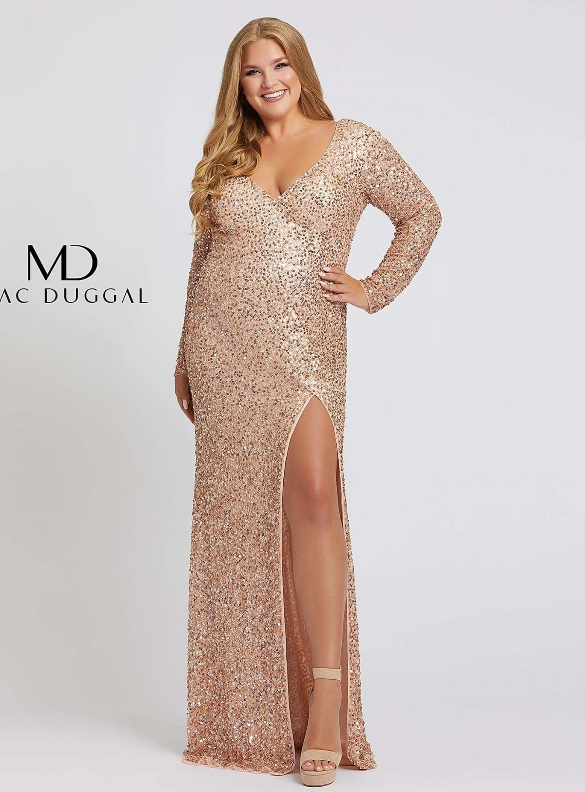Long Sleeve Rose Gold Beaded Gown by Mac Duggal