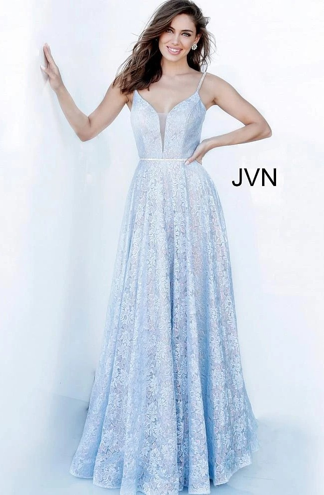 Irridescent Blue Lace Plus Sized Ball Gown by Jovani JVN