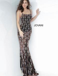 Jovani Brown Beaded Velvet Evening Dress 00993