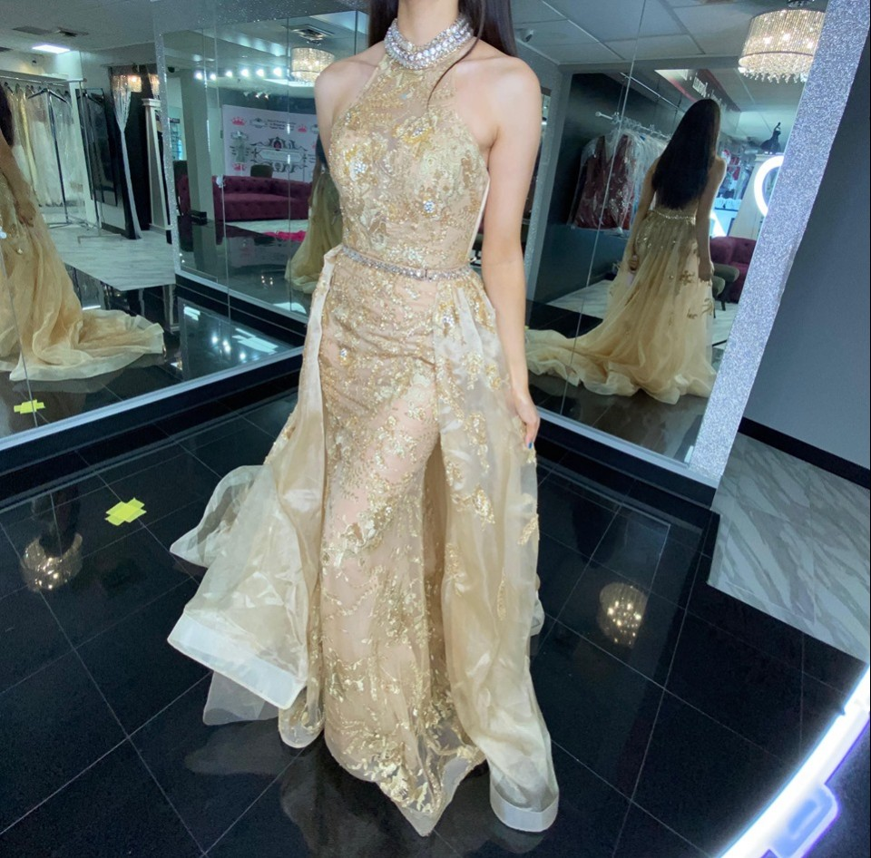 Gold Mac Duggal Pageant Dress
