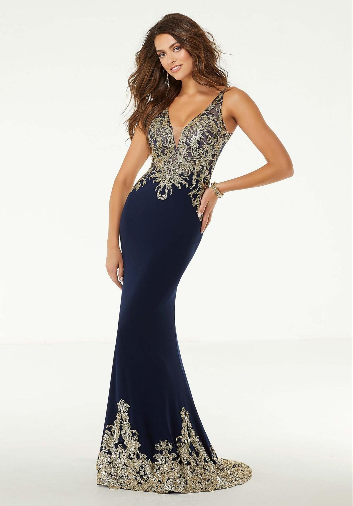 Moirlee Navy Blue Evening Gown
