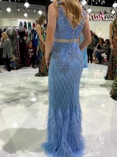 Light Blue Jovani Couture Embellished Mesh Dress