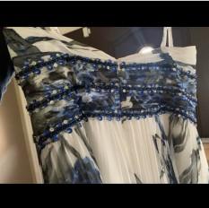 Blue and grey flowered dress Miss or Mrs Designer Tony Bowls