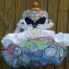 White & Rainbow custom 12-2t pageant dress (Lacy Ayala)