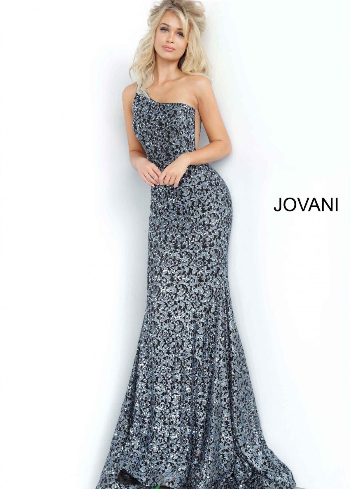 Jovani Black and Silver Dress