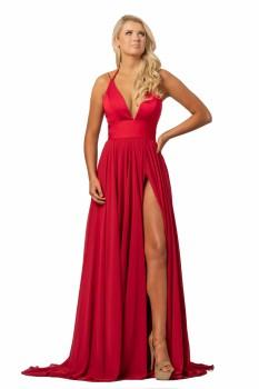Johnathan Kayne Crimson Deep V Dress