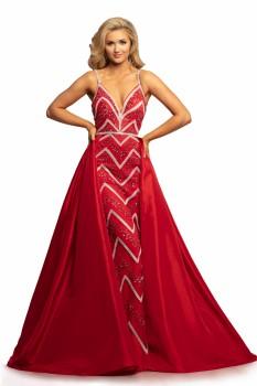 Johnathan Kayne Red and Silver Dress